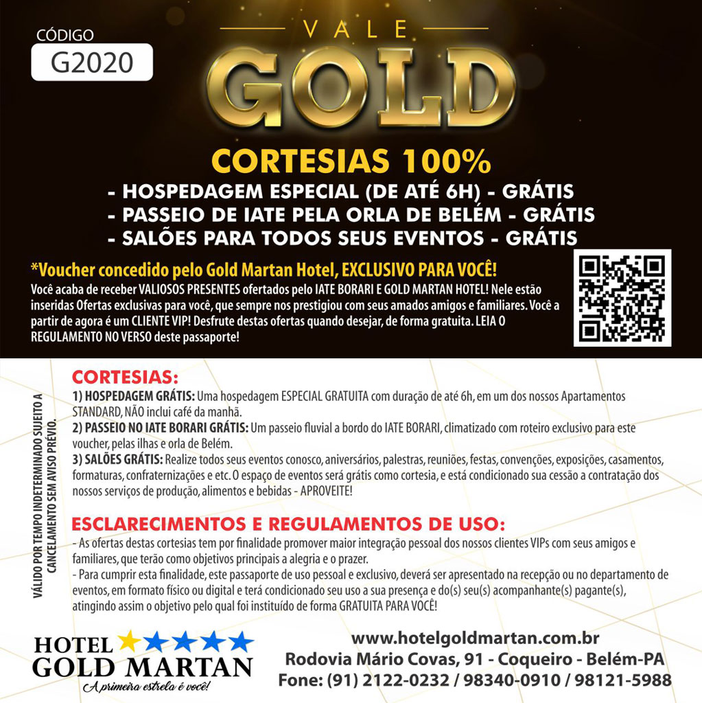 [PASSAPORTE GRÁTIS. CORTESIAS 100% - VOUCHER - PASSAPORTE GRÁTIS - CORTESIA 100% - GOLD MARTAN HOTE!]